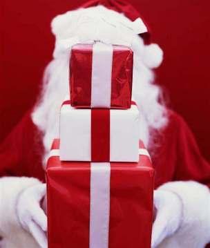 Christmas Santa holding gifts