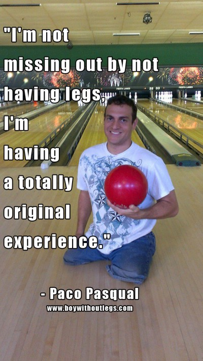boy without legs bowling